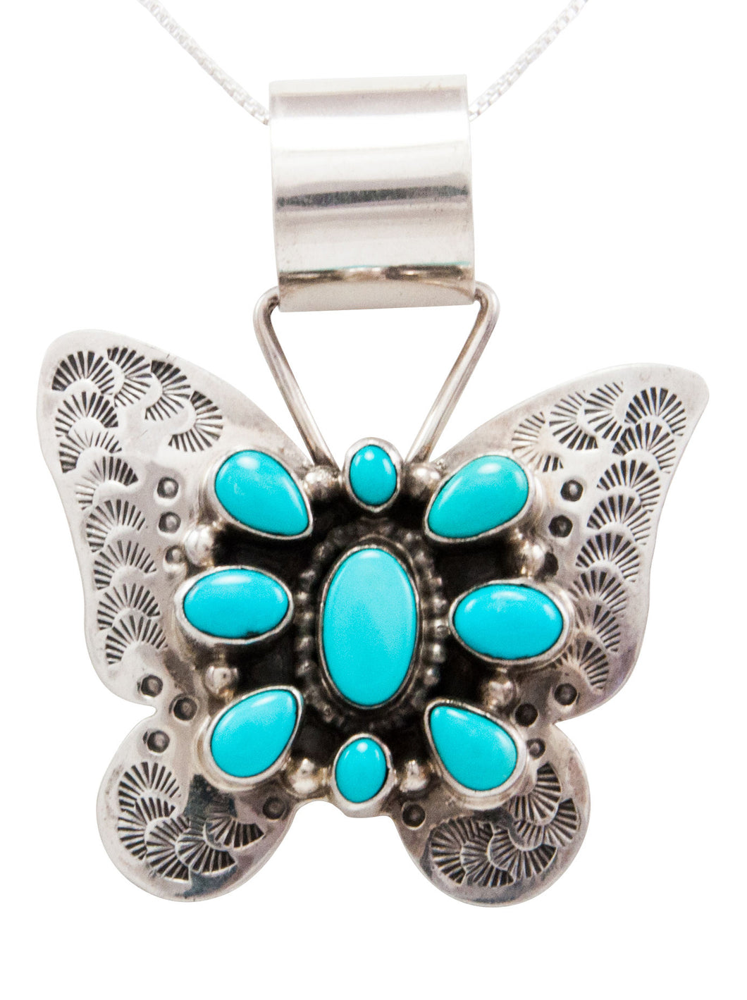 Navajo Native American Kingman Turquoise Butterfly Pendant Necklace by Johnson SKU232450