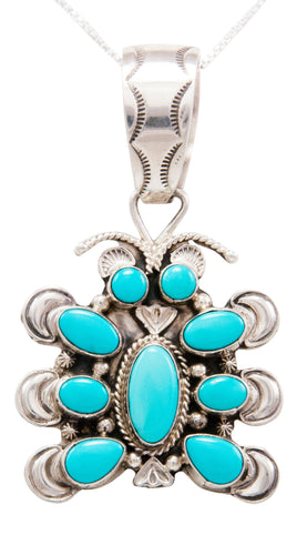 Navajo Native American Sleeping Beauty Turquoise Butterfly Pendant Necklace by Tso SKU232451