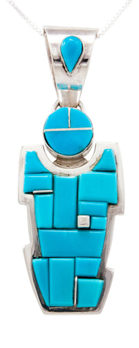 Navajo Native American Sleeping Beauty Turquoise Yei Pendant Necklace by Chris Tom SKU232463