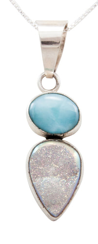 Navajo Native American Larimar and Druzy Pendant Necklace by Bea Tom SKU232467