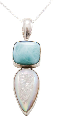 Navajo Native American Larimar and Druzy Pendant Necklace by Ray Bennett SKU232468