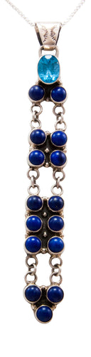 Navajo Native American Topaz and Lapis Pendant Necklace by Benjamin Piaso SKU232470