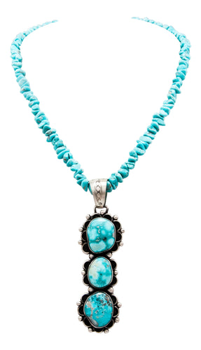 Navajo Native American Kingman Turquoise Pendant and Necklace by Johnson SKU232479