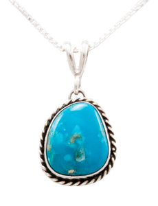 Navajo Native American Kingman Turquoise Pendant Necklace by Platero SKU232480