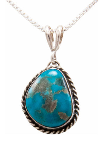 Navajo Native American Kingman Turquoise Pendant Necklace by Platero SKU232481