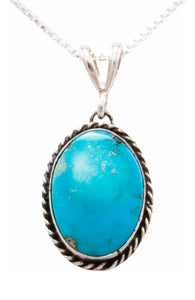Navajo Native American Turquoise Mountain Turquoise Pendant Necklace by Platero SKU232483