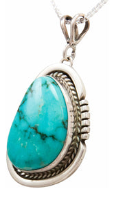Navajo Native American Turquoise Mountain Turquoise Pendant Necklace by Platero SKU232484