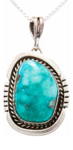 Load image into Gallery viewer, Navajo Native American Kingman Turquoise Pendant Necklace by Platero SKU232485