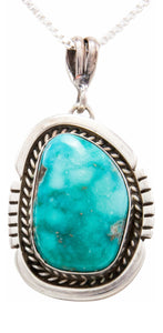 Navajo Native American Kingman Turquoise Pendant Necklace by Platero SKU232485