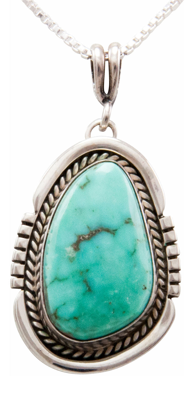 Navajo Native American Royston Turquoise Pendant Necklace by Platero SKU232487