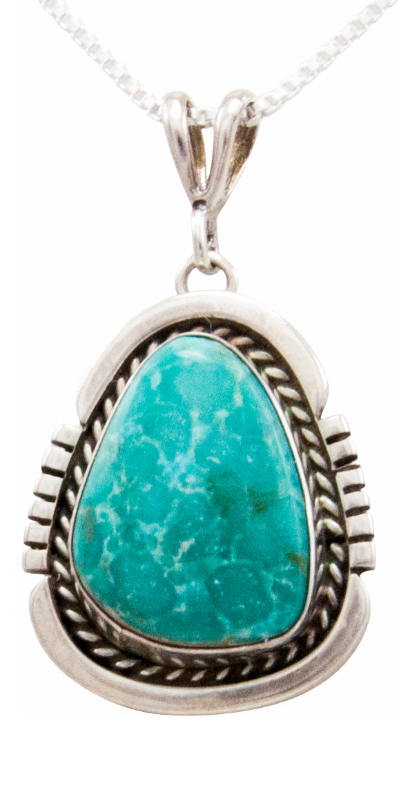 Navajo Native American Kingman Turquoise Pendant Necklace by Platero SKU232488