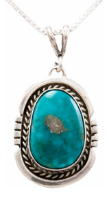 Navajo Native American Kingman Turquoise Pendant Necklace by Platero SKU232489