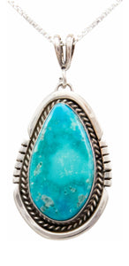 Navajo Native American Royston Turquoise Pendant Necklace by Platero SKU232490
