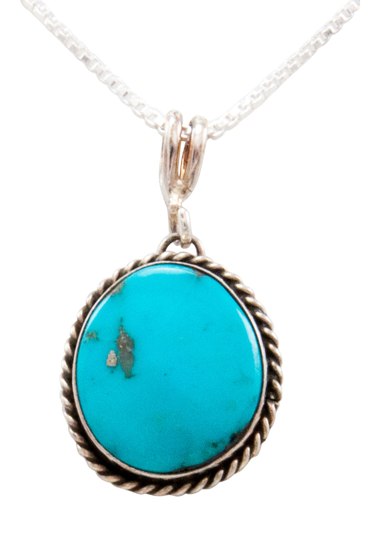 Navajo Native American Kingman Turquoise Pendant Necklace by Platero SKU232492