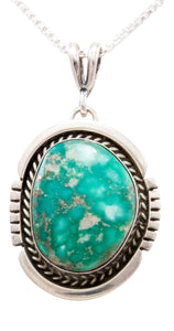 Navajo Native American Royston Turquoise Pendant Necklace by Platero SKU232497