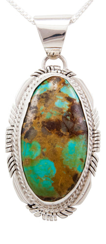 Navajo Native American Royston Turquoise Pendant Necklace by Spencer SKU232500