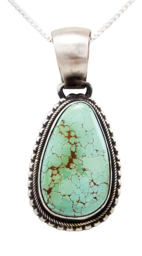 Navajo Native American Kingman Turquoise Pendant Necklace by Spencer SKU232508
