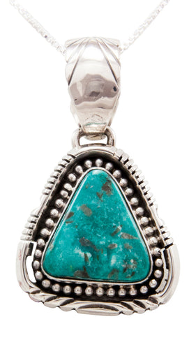 Navajo Native American Kingman Turquoise Pendant Necklace by Spencer SKU232509