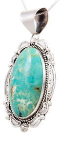 Navajo Native American Blue Gem Turquoise Pendant Necklace by Linkin SKU232511