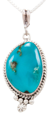 Navajo Native American Kingman Turquoise Pendant Necklace by Linkin SKU232516