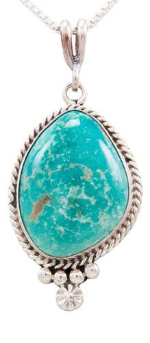 Navajo Native American Kingman Turquoise Pendant Necklace by Linkin SKU232518