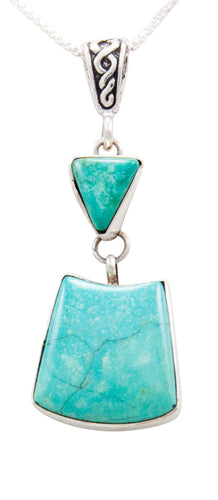 Navajo Native American Lone Mountain Turquoise Pendant Necklace by Ella Cowboy SKU232519
