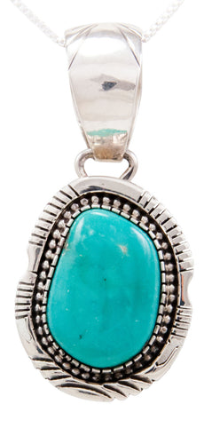 Navajo Native American Kingman Turquoise Pendant Necklace by Spencer SKU232523