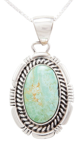 Navajo Native American Carico Lake Turquoise Pendant Necklace by Willie SKU232538