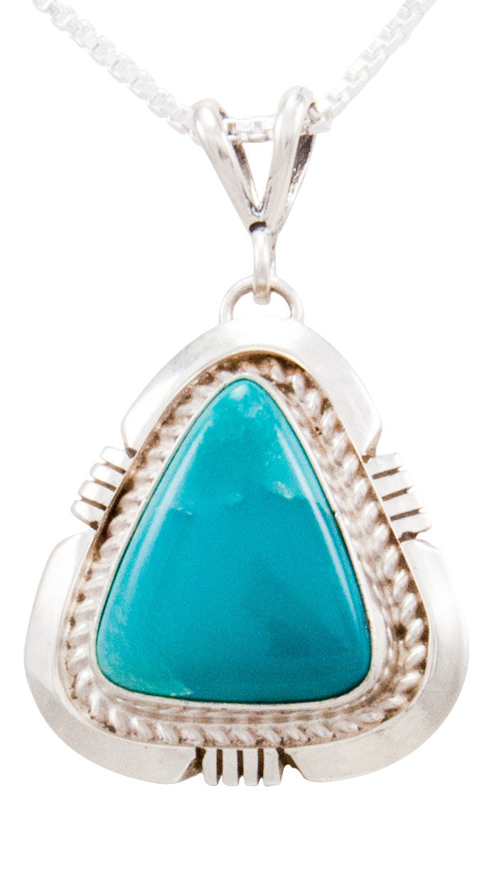 Navajo Native American Turquoise Mountain Turquoise Pendant Necklace by Secatero SKU232549
