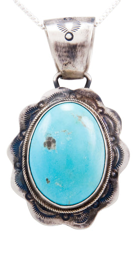 Navajo Native American Blue Moon Turquoise Pendant Necklace by Beard SKU232555