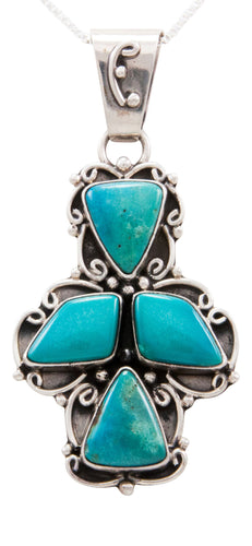 Navajo Native American Kingman Mine Turquoise Pendant Necklace SKU232564