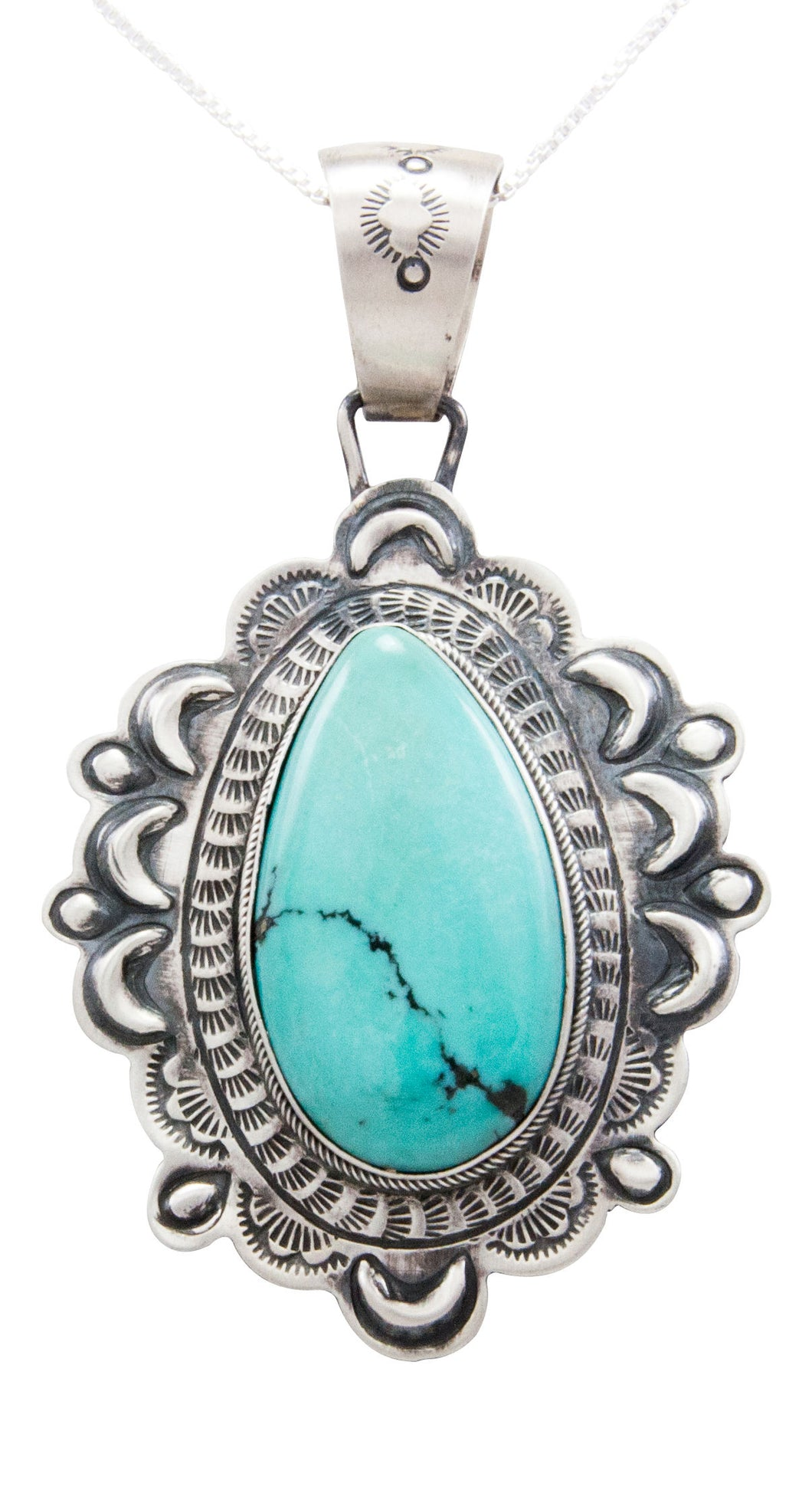 Navajo Native American Blue Moon Turquoise Pendant Necklace by Beard SKU232588