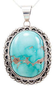 Navajo Native American Royston Turquoise Pendant Necklace by Livingston SKU232590