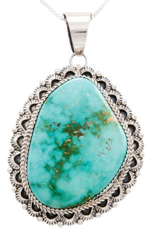 Navajo Native American Royston Turquoise Pendant Necklace by Livingston SKU232591
