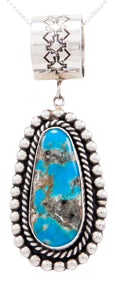 Navajo Native American Easter Blue Turquoise Pendant Necklace SKU232592