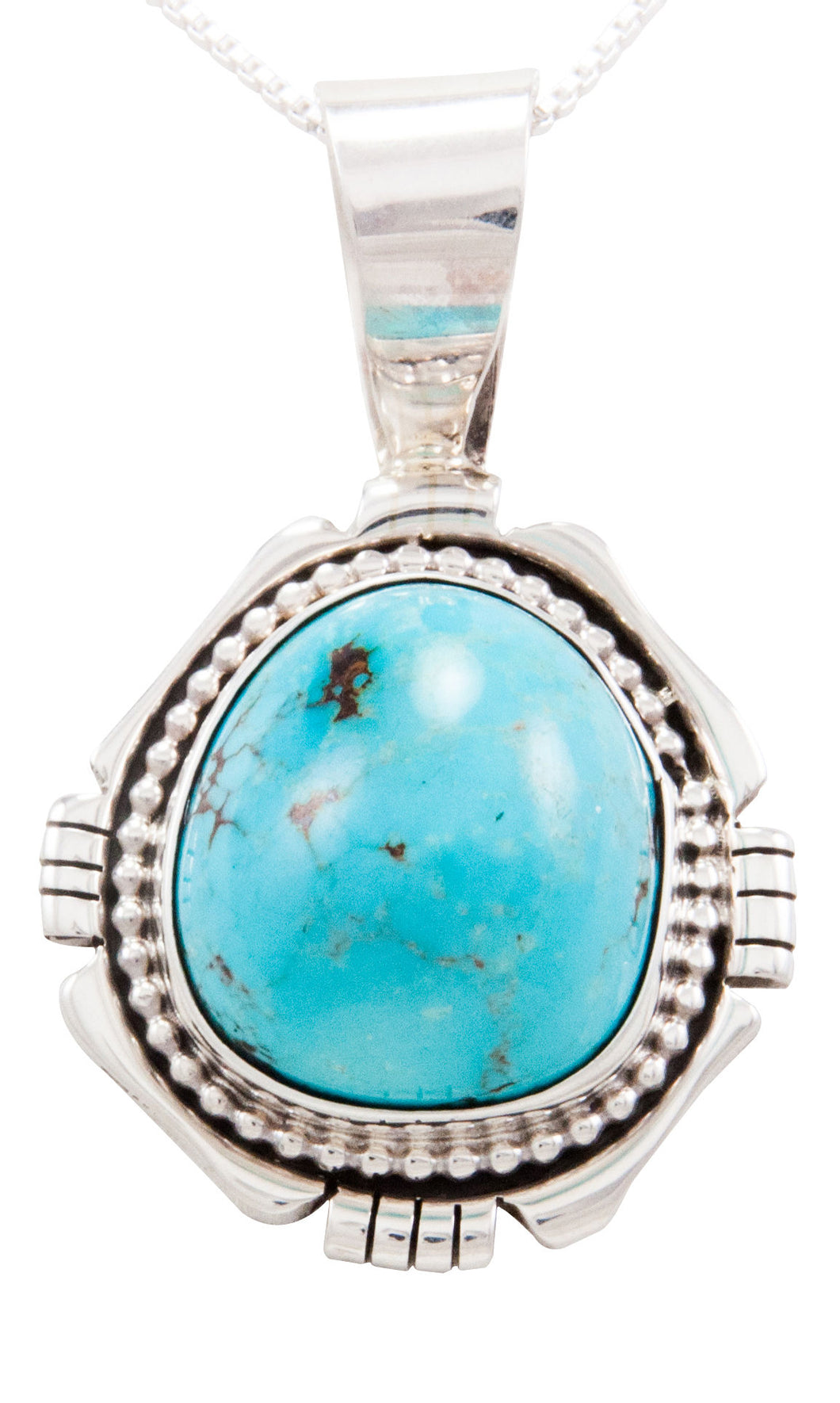 Navajo Native American Royston Turquoise Pendant Necklace by Yazzie SKU232594