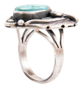 Navajo Native American Kingman Turquoise Ring Size 7 1/2 by Juan SKU232619