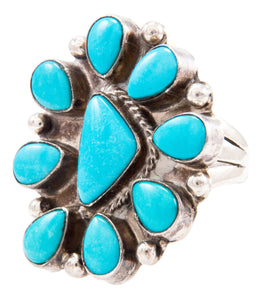 Navajo Native American Kingman Turquoise Ring Size 6 3/4 by Cowboy SKU232620