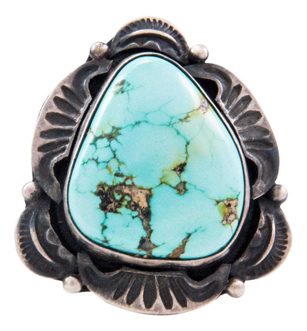 Navajo Native American Kingman Turquoise Ring Size 7 3/4 by Clark SKU232633