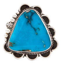Load image into Gallery viewer, Navajo Native American Blue Gem Turquoise Ring Size 8 1/4 Guerro SKU232647