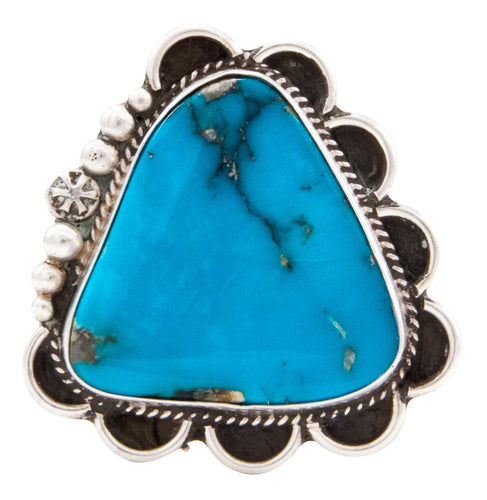 Navajo Native American Blue Gem Turquoise Ring Size 8 1/4 Guerro SKU232647