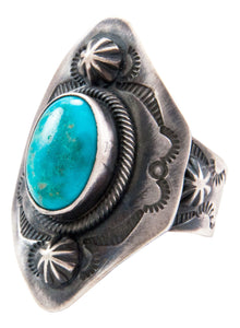 Navajo Native American Turquoise Mountain Turquoise Ring Size 10 3/4 SKU232657