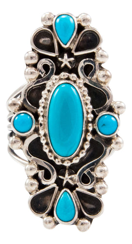 Navajo Native American Sleeping Beauty Turquoise Ring Size 7 3/4 by Kathleen Chavez SKU232658