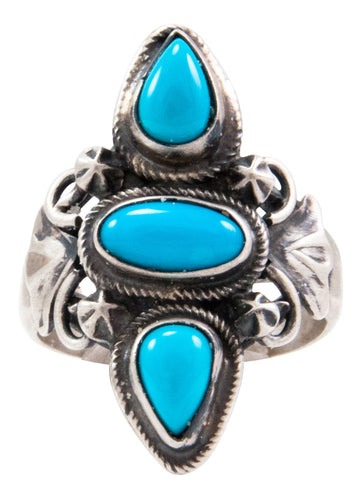 Navajo Native American Kingman Turquoise Ring Size 10 1/4 by Johnson SKU232660