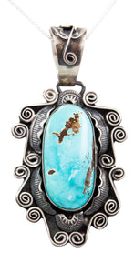 Navajo Native American Pilot Mountain Turquoise Pendant Necklace by Juan SKU232677
