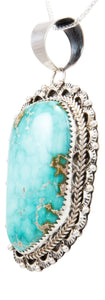 Navajo Native American Kingman Turquoise Pendant Necklace by Becenti SKU232681