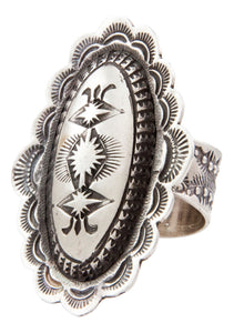 Navajo Native American Stamped Sterling Silver Ring Size 6 1/2 by Platero SKU232688