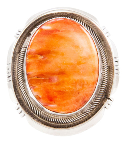 Navajo Native American Spiny Oyster Shell Ring Sizes 6 1/2 by Willie SKU232710