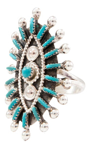 Zuni Native American Turquoise Needlepoint Ring Size 6 by Gia SKU232715