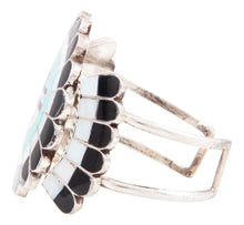 Load image into Gallery viewer, Zuni Native American Turquoise Coral Inlay Sunface Bracelet by Massie SKU232723